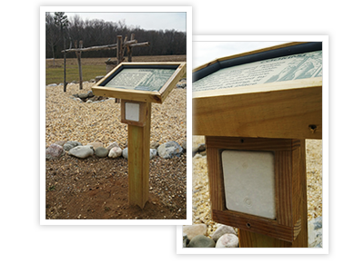 Outdoor beacon for park tour with custom housing and sign